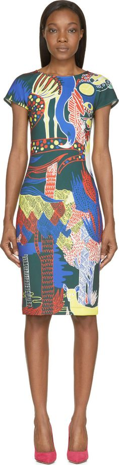 Mary Katrantzou Dark Green Jungle Palette Print Scuba Dress