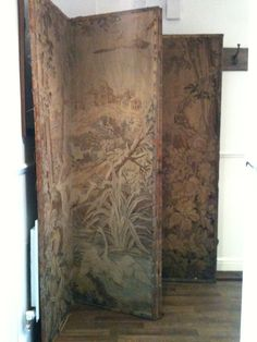 my huge antique tapestry dressing screen, a very lucky car boot find...it has since been cleaned and tidied and being kept :)