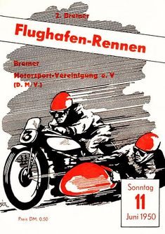 1950 Flughafen Motorcycle Race - Bremen - Program Cover Poster