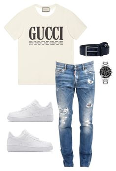 """Untitled #666"" by aintdatjulian on Polyvore featuring Gucci, NIKE, Dsquared2, Rolex, men's fashion and menswear"