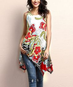 Love this White & Red Floral Sleeveless Handkerchief Tunic by Reborn Collection on #zulily! #zulilyfinds