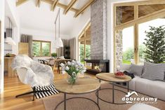 Hawana - Dobre Domy Flak & Abramowicz Provence Style, Living Spaces, Living Room, Home Technology, Rustic White, Design Case, House Plans, New Homes, Dining Table