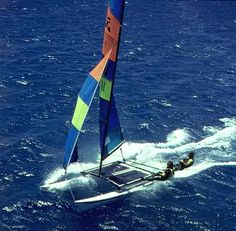 Hobie Cat 16 is 2.41 m wide, its length is 5.11 m, i.e. 16 foot