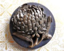 French gutta percha button, antique, black glass with a lovely floral gutta…