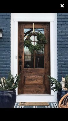farm-style, mid century modern, contemporary rustic door, // handmade, custom fixer upper style entry door for your home Rustic House Exterior Exterior House Colors, Exterior Design, Farmhouse Exterior Colors, House Paint Exterior, Wood Exterior Door, Brick Exterior Makeover, Black Exterior Doors, Modern Exterior, Dark Siding House