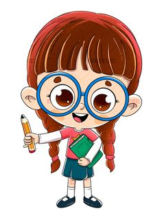 Little girl with a book and a pencil - Dibustock, Ilustraciones infantiles de Stock Teacher Cartoon, Student Cartoon, Cartoon Pics, Cartoon Drawings, Cute Cartoon, Art Drawings For Kids, Drawing For Kids, Good Character Traits, Character Design