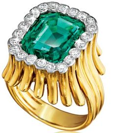 Verdura Flutes Ring 14k yellow gold mounting set with 7.30 carat emerald-cut Colombian emerald and 22 round diamonds weighing approximately 1.60 carats. Www.verdura.com