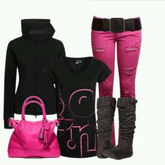 Black and pink comfortable look