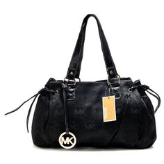 Michael Kors Outlet Logo Monogram Large Black Shoulder Bags
