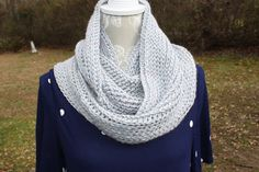 Hand Crocheted Cowl Silver with Metallic Flecks - Infinity Scarf - Double Wrap   FREE SHIP by pamsprideembroidery on Etsy