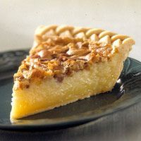 USS Missouri Buttermilk Pie - Creamy, delicious filling with crunch pecan topping! http://www.midwestliving.com/recipe/pies/uss-missouri-buttermilk-pie/