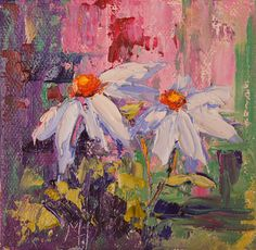 Impressionist floral painting  White Daisies by by artbymarion. Oil on mini canvas.# 26€ #oilpianting #paletteknife