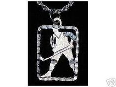 Hockey Stick puck Pendant Sports Charm Silver Jewelry Sterling Silver 925 Jewelry