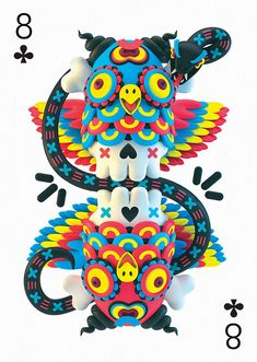 8 of Clubs by El Grand Chamaco – Edition One – Playing Arts Design 3d, Graphic Design, Collaborative Art Projects, 3d Studio, Ferrat, 3d Artwork, Designer Toys, Magazine Design, Collages