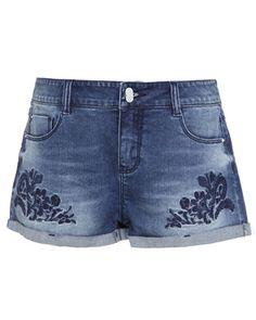 Embroidered Turn-Up Hem Blue Denim Shorts @yoyomelodydress