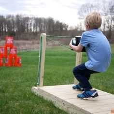 See this tutorial and build a base so you can turn a balloon launcher into a slingshot for fun in the backyard. The slingshot has been a part of Backyard For Kids, Backyard Games, Backyard Projects, Backyard Ideas, Diy Projects, Garden Games, Outdoor Projects, Outdoor Ideas, Fun Outdoor Games
