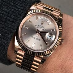 Rolex Watches - Friday with DAY DATE 40 amazingly beautiful sundust dial Ref 228235 Rolex Watches For Men, Luxury Watches For Men, Sport Watches, Men's Watches, Fashion Watches, Rolex Datejust Ii, Stylish Watches, Cool Watches, Rolex Day Date