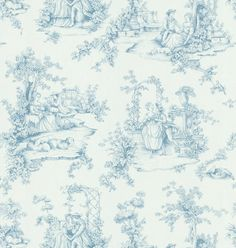 Brewster 499-45723 Light Blue Botanical Toile Wallpaper, Whites and Off-Whites - - Amazon.com