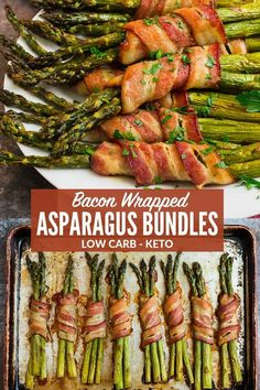 Bacon Wrapped Asparagus in the Oven is one of the BEST recipes for easy entertaining! You can also cook it on the grill or on the stove. Top the bundles with brown sugar, balsamic glaze, or enjoy it just as it is. This gluten free, keto, and paleo Asparagus On The Stove, Sauteed Asparagus Recipe, Grilled Asparagus Recipes, Oven Roasted Asparagus, Asparagus Bacon, How To Cook Asparagus, Bacon Recipes, Paleo Recipes, Easy Oven Recipes