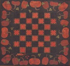 Quilting Pattern & KIT Pumpkin Wall hanging Primitive Gatherings 45 x Wool Wool Applique Quilts, Wool Applique Patterns, Wool Quilts, Star Quilts, Quilt Patterns, Quilt Blocks, Mini Quilts, Wool Fabric, Halloween Quilts