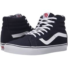 Vans SK8-Hi Reissue ((Twill & Gingham) Dress Blues/True White) Skate... (68 CAD) ❤ liked on Polyvore featuring shoes, sneakers, navy, skate shoes, blue shoes, navy sneakers, navy shoes and navy blue shoes