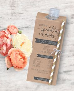 Printable Wedding Program Bottle Tag Unique Wedding Program