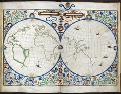 Jean Rotz, Map of the Two Hemispheres, France and England, 1542