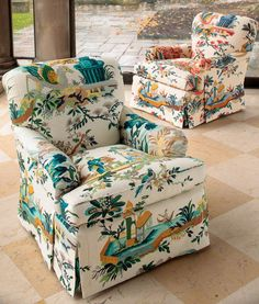 Le Jardin Chinois from Brunchschwig & Fils.  Bedford Chair in aqua / green or red blue. Chinoiserie, a style that captured fantasies of Chinese life.