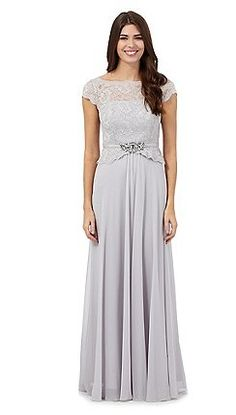 No. 1 Jenny Packham - Silver jewel embellished maxi dress
