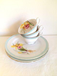 Vintage Aqua Blue Floral Tea cup Snack Set by TheLittleThingsVin