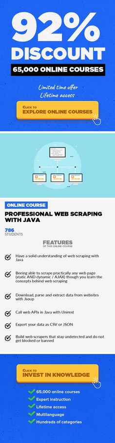Professional Web Scraping with Java Web Development, Development #onlinecourses #onlinebusinesstips #learningstrategies  Learn how to scrape data from any static or dynamic / AJAX web page using Java in a short and concise way. In this short and concise course you will learn everything to get started with web scraping using Java. You will learn the concepts behind web scraping that you can apply...