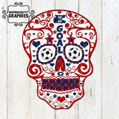 Digital File - Sugar Skull For Soccer or Futbol with SVG, Dxf, Png Commercial & Personal Use