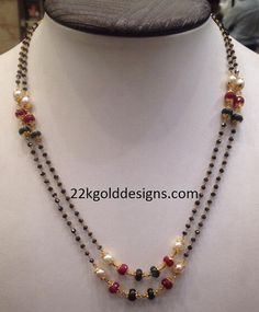 black beads or nallapusalu Indian Jewellery Design, Indian Jewelry, Jewellery Designs, Egyptian Jewelry, Fashion Jewellery, Jewelry Patterns, Beaded Jewelry, Beaded Necklace, Gold Jewelry