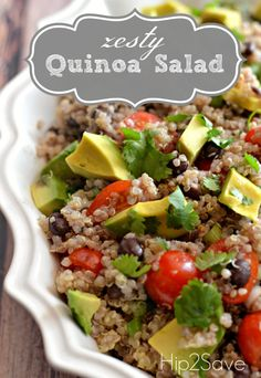 ⭐️⭐️⭐️Zesty Cilantro Lime Quinoa Salad Recipe Hip2Save...add diced cucumber, cooked corn,  feta! Also cut back on the oil for the dressing!