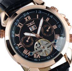 OrrOrr Elegante Klassisch DatumUhr mechanische Automatikuhr Herrenuhr Armbanduhr Uhr Rosegold