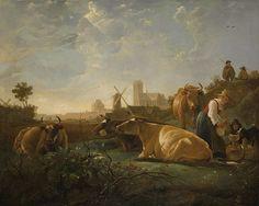 #CUYP, Albert, Une vue lointaine de Dordrecht avec une laitière et quatre vaches, autour de 1650, huile sur toile, 197 x 157.5 cm, #National Gallery, Londres, Angleterres