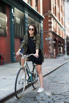 sartorialist - on the streets of NY Olive jacket and black tshirt dress bike