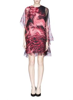 LANVIN - Prancing animal print organza shift dress | Multi-colour Cocktail Dresses | Womenswear | Lane Crawford - Shop Designer Brands Online
