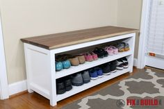 DIY Entryway Shoe Storage Bench You can build this DIY Entryway Bench with Shoe Storage and organize your house. Detailed plans and a full video walkthrough are available for this project. Shoe Storage Bench Entryway, Shoe Rack Bench, Diy Shoe Storage, Diy Shoe Rack, Diy Bench, Storage Ideas, Shoe Racks, Diy Storage Bench Plans, How To Make Shoe Storage Bench