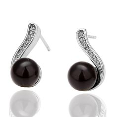 Hot Elegant CZ Diamond Artificial Black Pearl Stud Earring White Gold-Electroplated Wedding Party Fine Women Jewelry