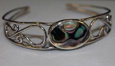 Abalone shell scroll work bangle #handmade #folkestone #bespoke #jewellery #kent