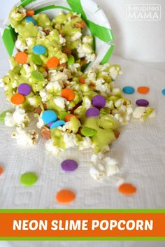 Neon Slime Popcorn Snack Mix for Watching the Nickelodeon Kids Choice Awards at B-Inspired Mama