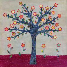 Whimsical Flower Tree Art Print Tree Poster Print 20 x by Sascalia, $55.00