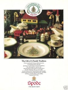 1988 Spode Christmas Tree Dishes Tableware Settings Holiday Vintage Print Ad