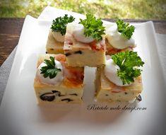 cuburi cu masline si verdeturi 1 Finger Food Appetizers, Finger Foods, Appetizer Recipes, Tasty, Yummy Food, Sushi, Cheesecake, Baking, Breakfast