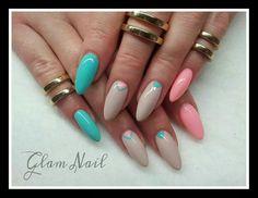 SPN: 606 Turquoise Mint, 614 Miss WANTED, 634 Perfect Beige.   Nails by Sylwia Brzuchacz, Glam Nail, SPN Team Krakow #paznokcie #spnnails #nails #pastelnails