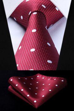 Burgundy Polka Dot Tie and Pocket Square - - Tie And Pocket Square, Pocket Squares, Mens Fashion Suits, Mens Suits, Men's Fashion, Wedding Suits, Trendy Wedding, Groomsmen Grey, Moda Masculina