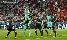 #UEFA2016 - Match 6 - Portugal 2 Wales 0 - The Wales defence can only watch as Cristiano Ronaldo heads in the opening goal of the Euro 2016 semi-final for Portugal - guardian.com - #POR #Portugal
