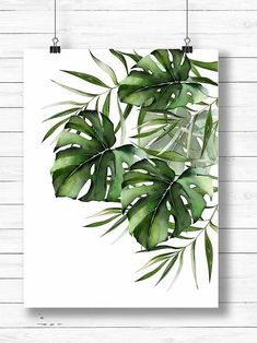 Watercolor painting of Monstera and palm leaves. Printable art Plant Painting, Plant Art, Painting Leaves Acrylic, Painting Art, Watercolor Plants, Watercolor Paintings, Watercolor Leaves, Watercolor Tattoos, Botanical Wall Art
