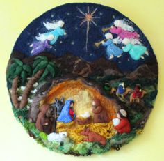 Waldorf christmas wool picture, nativity, needle felted by AtelierAurea on Etsy https://www.etsy.com/listing/464328726/waldorf-christmas-wool-picture-nativity